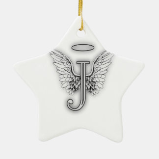 Angel Alphabet J Initial Letter Wings Halo Ceramic Ornament