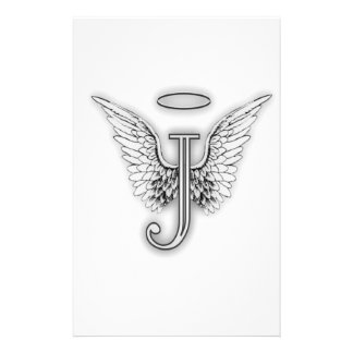 Angel Alphabet J Initial Letter Wings Halo Stationery