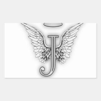 Angel Alphabet J Initial Letter Wings Halo Rectangular Sticker