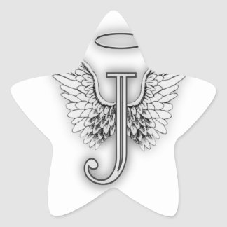 Angel Alphabet J Initial Letter Wings Halo Stickers