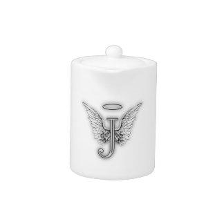 Angel Alphabet J Initial Letter Wings Halo Teapot