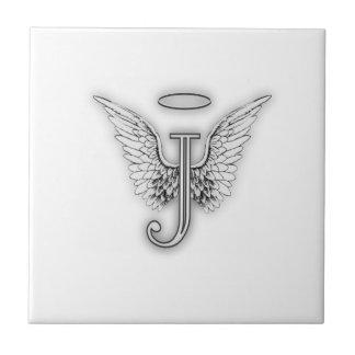 Angel Alphabet J Initial Letter Wings Halo Ceramic Tiles