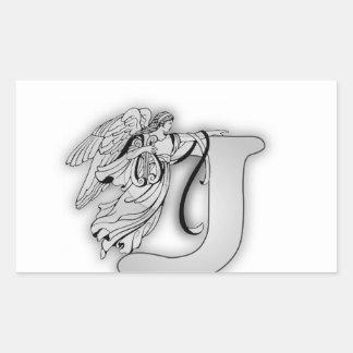 Angel Alphabet J Initial Monogram Sticker