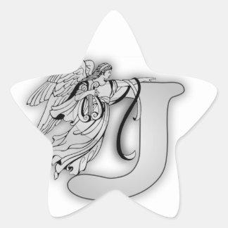 Angel Alphabet J Initial Monogram Star Stickers