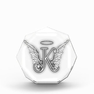 Angel Alphabet K Initial Letter Wings Halo Acrylic Award