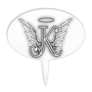 Angel Alphabet K Initial Letter Wings Halo Cake Topper