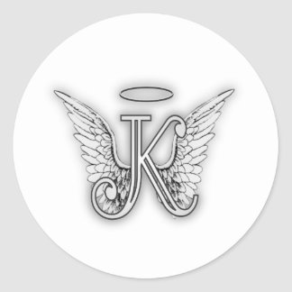 Angel Alphabet K Initial Letter Wings Halo Classic Round Sticker
