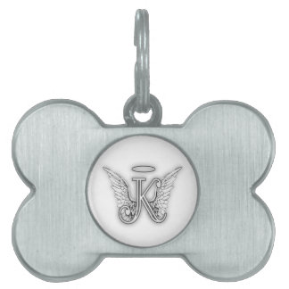 Angel Alphabet K Initial Letter Wings Halo Pet ID Tag