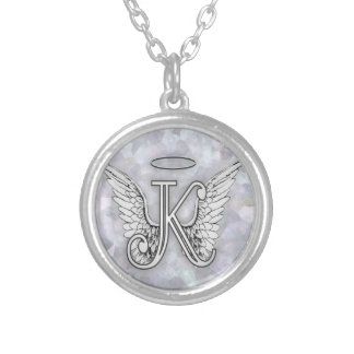 Angel Alphabet K Initial Letter Wings Halo Silver Plated Necklace