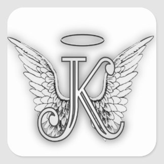 Angel Alphabet K Initial Letter Wings Halo Square Sticker
