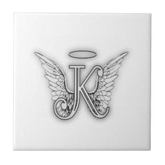 Angel Alphabet K Initial Letter Wings Halo Ceramic Tile