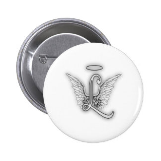 Angel Alphabet L Initial Letter Wings Halo Button