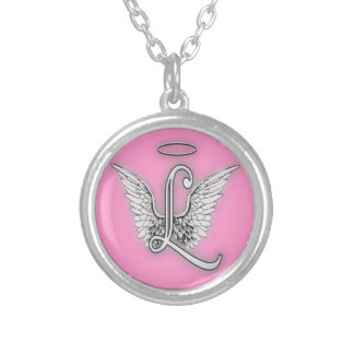 Angel Alphabet L Initial Letter Wings Halo Pendant