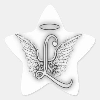 Angel Alphabet L Initial Letter Wings Halo Star Sticker