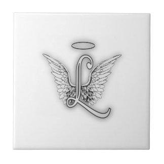 Angel Alphabet L Initial Letter Wings Halo Tile
