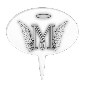 Angel Alphabet M Initial Letter Wings Halo Cake Topper