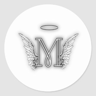 Angel Alphabet M Initial Letter Wings Halo Classic Round Sticker