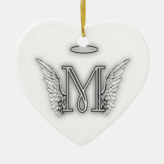 Angel Alphabet M Initial Letter Wings Halo Double-Sided Heart Ceramic Christmas Ornament