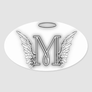 Angel Alphabet M Initial Letter Wings Halo Oval Sticker