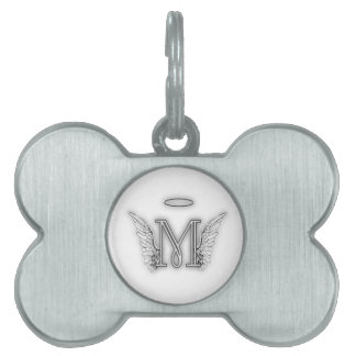Angel Alphabet M Initial Letter Wings Halo Pet Tag
