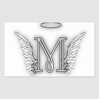Angel Alphabet M Initial Letter Wings Halo Rectangular Sticker