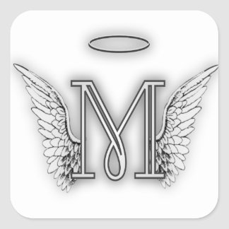 Angel Alphabet M Initial Letter Wings Halo Square Sticker