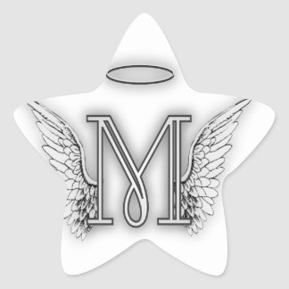 Angel Alphabet M Initial Letter Wings Halo Star Sticker