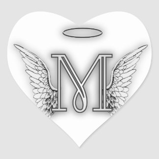 Angel Alphabet M Initial Letter Wings Halo Sticker