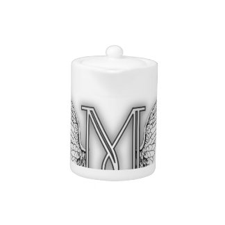 Angel Alphabet M Initial Letter Wings Halo Teapot