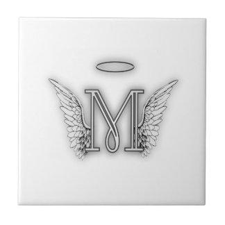 Angel Alphabet M Initial Letter Wings Halo Ceramic Tiles