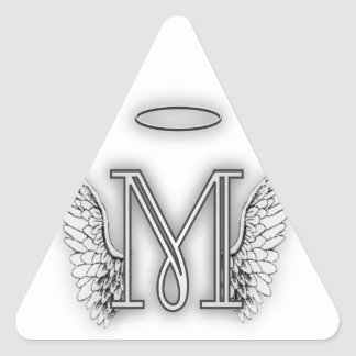 Angel Alphabet M Initial Letter Wings Halo Triangle Sticker