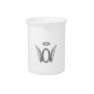 Angel Alphabet O Initial Letter Wings Halo Beverage Pitcher