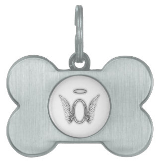 Angel Alphabet O Initial Letter Wings Halo Pet ID Tag