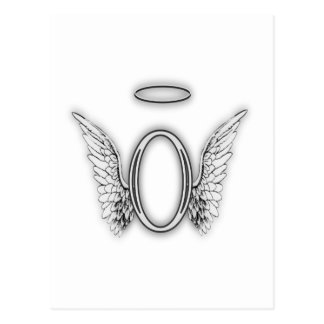 Angel Alphabet O Initial Letter Wings Halo Postcard
