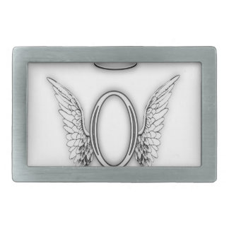 Angel Alphabet O Initial Letter Wings Halo Rectangular Belt Buckle