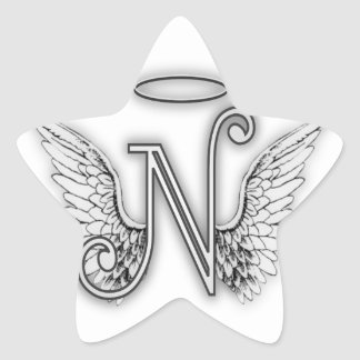 Angel Alphabet O Initial Letter Wings Halo Sticker