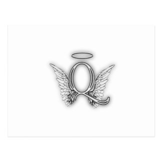 Angel Alphabet Q Initial Letter Wings Halo Postcard