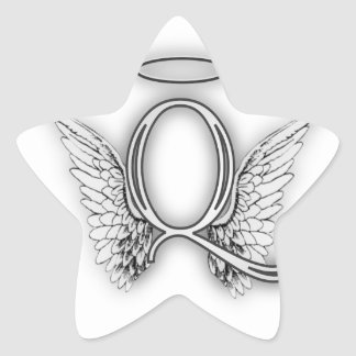 Angel Alphabet Q Initial Letter Wings Halo Stickers