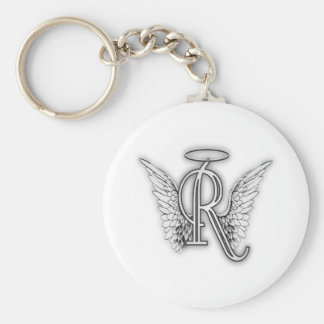 Angel Alphabet R Initial Letter Wings Halo Basic Round Button Keychain