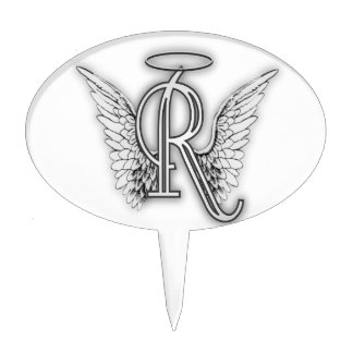 Angel Alphabet R Initial Letter Wings Halo Cake Topper