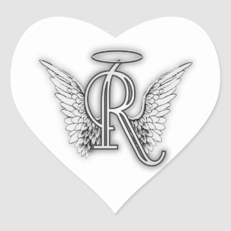 Angel Alphabet R Initial Letter Wings Halo Heart Sticker