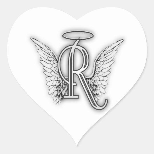 angel alphabet r initial letter wings halo heart sticker