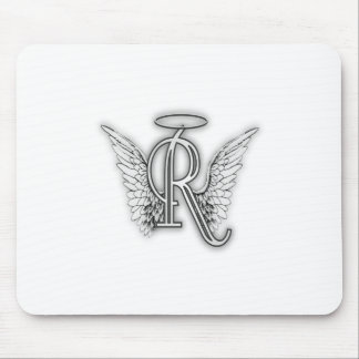 Angel Alphabet R Initial Letter Wings Halo Mouse Pad