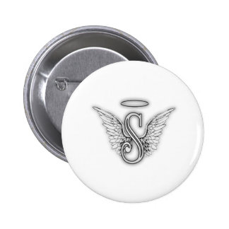 Angel Alphabet S Initial Letter Wings Halo Button