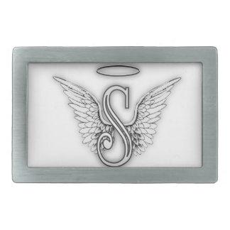 Angel Alphabet S Initial Letter Wings Halo Rectangular Belt Buckle