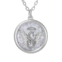 Angel Alphabet S Initial Letter Wings Halo Silver Plated Necklace