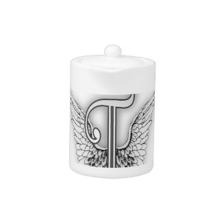 Angel Alphabet T Initial Letter Wings Halo Teapot