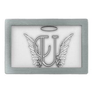 Angel Alphabet U Initial Letter Wings Halo Belt Buckle
