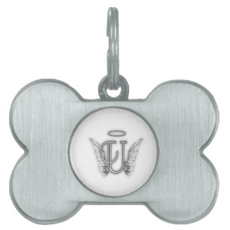 Angel Alphabet U Initial Letter Wings Halo Pet Name Tag