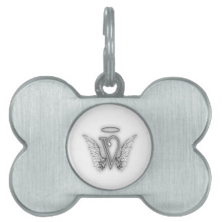 Angel Alphabet V Initial Letter Wings Halo Pet ID Tag